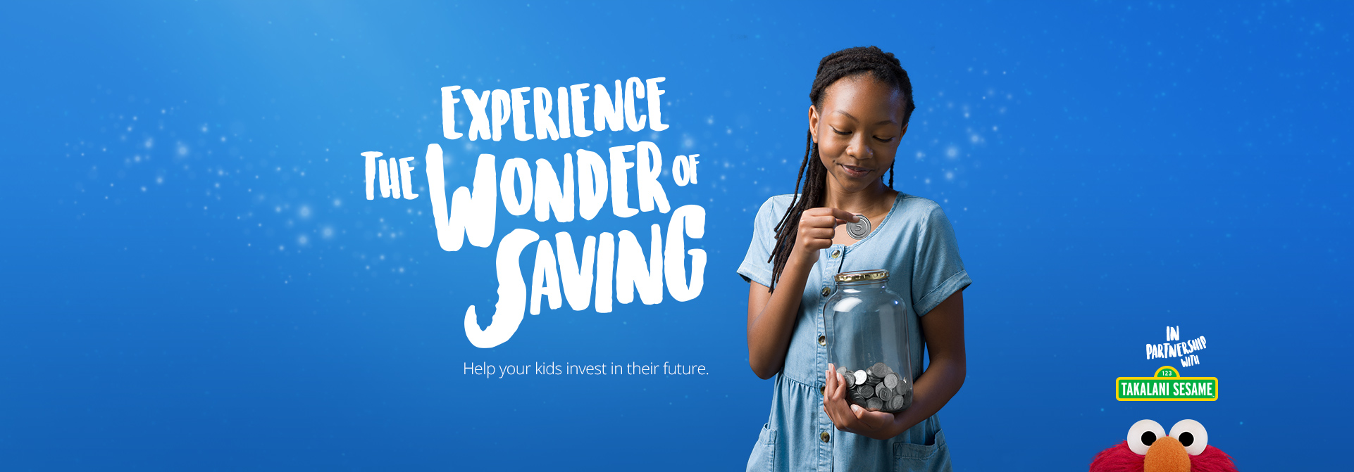 Sanlam Savings Jar Satrix Desktop Campaign Page with Elmo